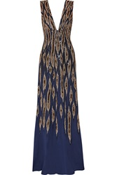 Issa Embellished Silk Crepe Gown Blue