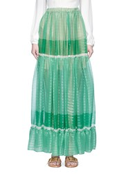 Stella Mccartney 'Elsa' Star Print Lurex Silk Maxi Skirt Green