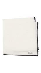 Drakes Shoestring Handkerchief White Navy