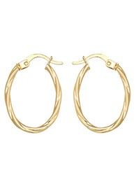 Lord And Taylor 14K Yellow Twist Oval Hoop Earrings Gold