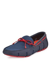 Swims Mesh And Rubber Braided Lace Boat Shoe Navy Red