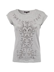 Morgan Patterned Lace Effect Cotton Top Grey