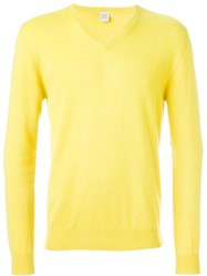 Eleventy V Neck Sweater Yellow And Orange