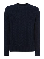 Criminal Rufus Crew Neck Knitted Jumper Navy