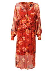 And Or Megan Autumn Rose Midi Dress Red