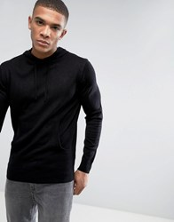 French Connection Knitted Jumper With Hood Black