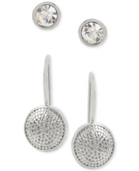 Touch Of Silver Hint Gold 2 Pc. Set Crystal Stud And Textured Drop Earrings In Sterling Silver