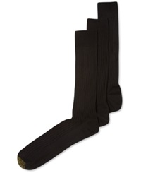 Gold Toe Adc Canterbury 3 Pack Crew Extended Size Dress Men's Socks Black