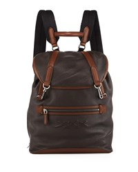 Ermenegildo Zegna Flap Calf Leather Backpack Brown