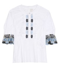 Peter Pilotto Cotton Blend Blouse With Lace White
