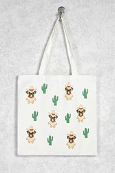Forever 21 Dog And Cactus Print Tote Beige Multi