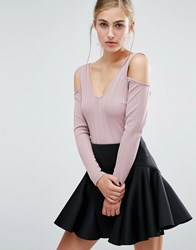 Miss Selfridge Ribbed Cold Shoulder Crop Top Mink Pink