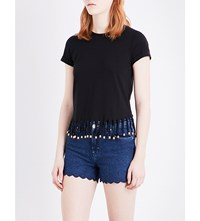 Maje Tilia Fringe Detail Cotton Jersey T Shirt Black