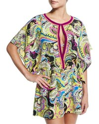 Etro Paisley Print Keyhole Front Romper Yellow Multi