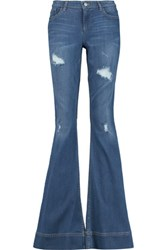 Alice Olivia Ryley High Rise Distressed Denim Jeans Mid Denim