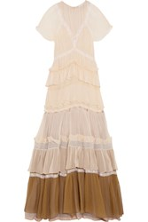 Chloe Tiered Lace Trimmed Silk Crepon Gown Peach