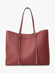 Ralph Lauren Polo Lennox Large Leather Tote Bag Red