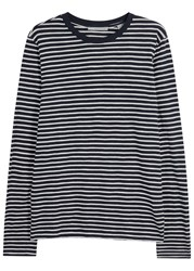 Vince Midnight Blue Striped Cotton Top Navy
