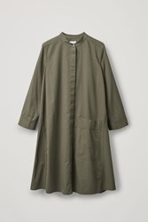 Cos Shirt Dress With Large Pocket Green