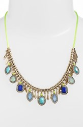 Women's Kent And King Jeweled Frontal Necklace Turquoise Gold