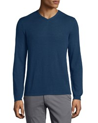 Zachary Prell V Neck Linen Blend Long Sleeve Sweater Navy Men's