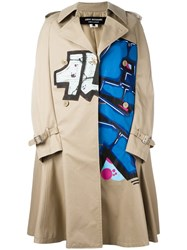 Comme Des Garcons Junya Watanabe Printed Trench Coat Nude Neutrals