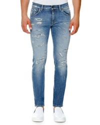 Dolce And Gabbana Distressed Stretch Denim Skinny Jeans Light Blue Medium Blue