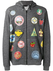 Love Moschino Multi Patch Hoodie Grey