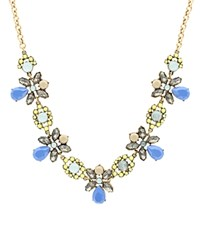 Sparkling Sage Mixed Stone Collage Five Station Statement Necklace Compare At 117 Burnished Gold Blue