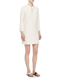 The Row Zip Front Long Sleeve Mini Dress Natural