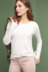 Anthropologie Pearl Ruched Pullover Cream
