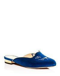 Charlotte Olympia Kitty Embroidered Velvet Mules Blue