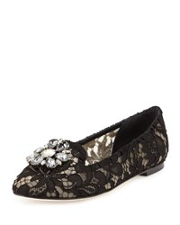 Dolce And Gabbana Jewel Embellished Lace Loafer Black