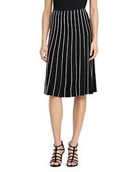 Ralph Lauren Piping Stripe A Line Skirt Polo Black Herbal Milk