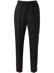 Incotex Cropped Drawstring Trousers Black