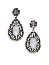 Bavna 3.77 Tcw Champagne Rose Cut Diamonds 12.84 Ct Rainbow Moonstone And Sterling Silver Drop Earrings