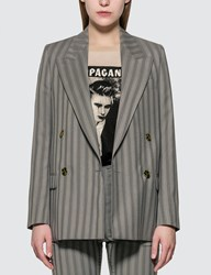 Acne Studios Double Breasted Pinstripe Jacket Grey