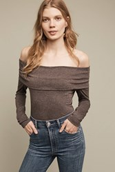 Anthropologie Brienne Off The Shoulder Top Dark Grey
