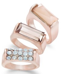 Thalia Sodi Rose Gold Tone 3 Pc. Set Crystal Rings Only At Macy's