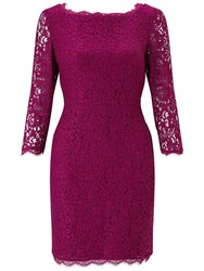 Adrianna Papell Petite 3 4 Length Sleeve Lace Dress Crushed Berry