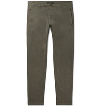 Aspesi Slim Fit Garment Dyed Cotton Blend Twill Trousers Green