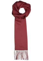 Peckham Rye Burgundy Fringed Silk Scarf Red