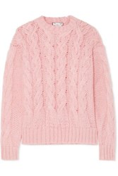 Paul And Joe Cable Knit Mohair Blend Sweater Pink