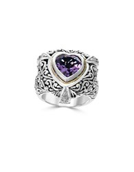 Effy 18K Gold Sterling Silver Diamond And Amethyst Heart Ring 0.07 Tcw Purple