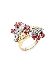 Estate Jewelry Collection White Diamond Ruby And 14K Yellow Gold Ring