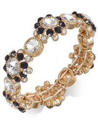 Charter Club Gold Tone Clear And Jet Crystal Stretch Bracelet Created For Macy's