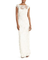 Ralph Lauren Embroidered Gown Ivory Gold