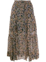 Coach Floral Skirt With Front Slits Blue