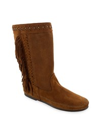 Minnetonka Luna Suede Fringe Mid Calf Boots Brown