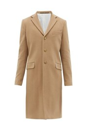 Givenchy Single Breasted Wool Blend Overcoat Camel